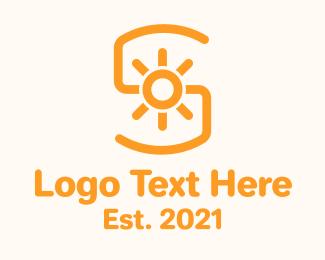 Initial - Orange Sunlight Letter S logo design