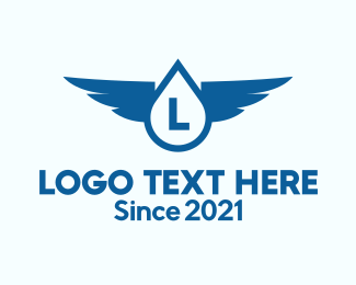 Blue Drop - Water Drop Wings logo design