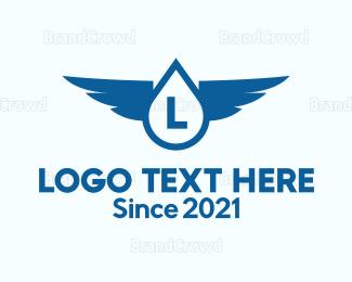 Water - Water Drop Wings logo design