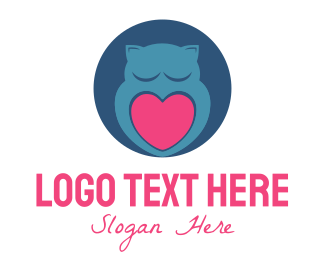 Blue And Pink - Owl & Heart logo design