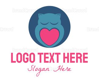 Blue And Pink - Owl & Heart logo design