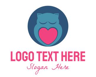 Sleep - Owl & Heart logo design