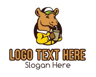 Milkshake - Drinking Camel Mascot logo design