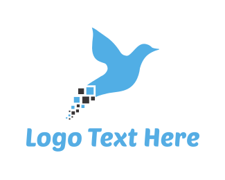 Kingfisher - Pixel Bird logo design