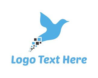 Blue Bird - Blue Pixel Bird logo design