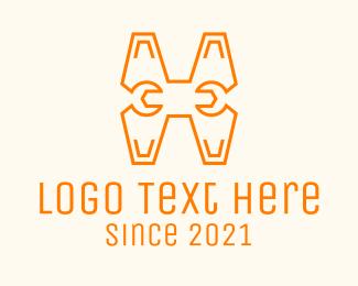 Masonry - Monoline Letter H Wrench logo design