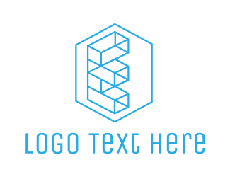Furniture Store - Geometric Brick E logo design