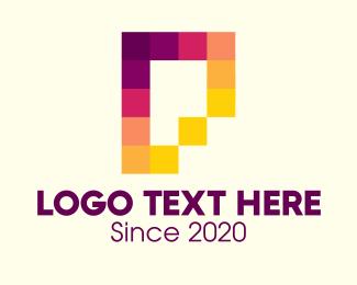 Pixelate - Multicolor Pixels Letter P logo design
