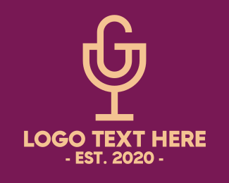 Liqueur - Wine Glass Letter G Podcast logo design