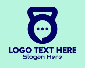 Chatting - Kettlebell Chat Bubble  logo design