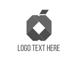 Fold - Origami Apple logo design