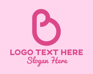 Mommy - Pink Mother Pregnancy Letter B logo design
