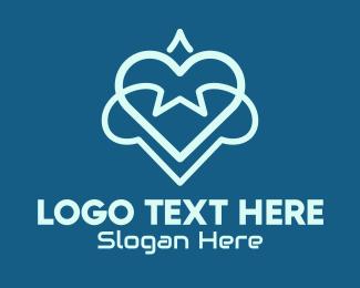 Dating Advice - Futuristic Tech Heart logo design