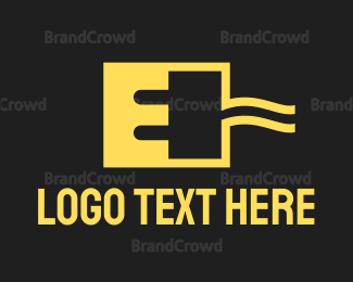 Plug - Square Red E Plug logo design