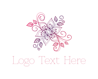Purple Leaf - Pink & Purple Flower logo design