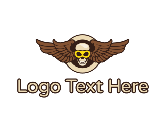 Sun Glasses - Goggle Skull Wing logo design
