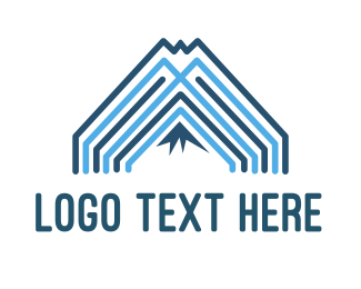 Mount - Mountain Blue Lines logo design