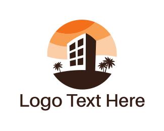 Property - Brown Building Circle logo design