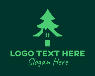 Landscape Garden - Green Pine Tree House logo design