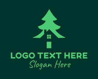 Lodge - Green Pine Tree House logo design
