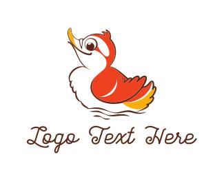 Duckling - Cute Red Duck logo design