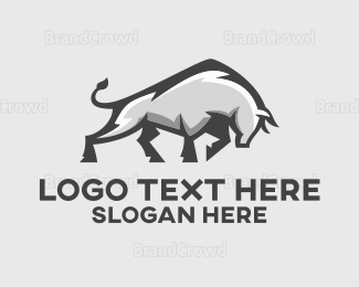 Protein Shake - Steel Chrome Bull logo design