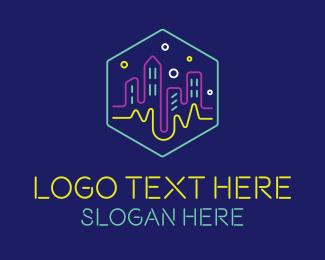 Restaurant - Neon Lights City logo design