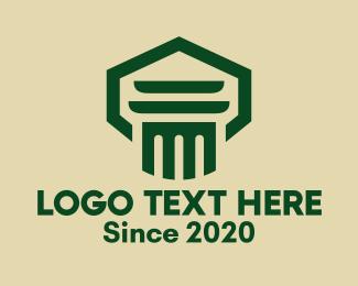 Government - Green Law Pillar logo design