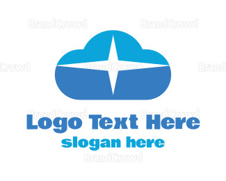 Cloud Drive - Blue Sparkle Cloud logo design