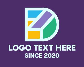 Geometric Shapes - Colorful Geometric Letter D logo design