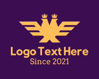 King - Golden Two Headed Eagle logo design