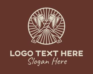 Wooden - Wooden Lumberjack Axe logo design