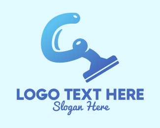 Disinfect - Blue Cleaning Squeegee logo design