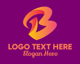 3d - Gradient Orange Cursive Letter B  logo design