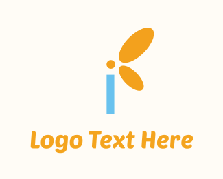 Blue Insect - Letter I Butterfly  logo design