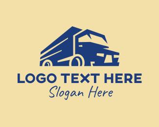 Trailer Truck - Modern Blue Cargo Truck logo design