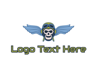 Ghoul - Blue Wing Skull logo design