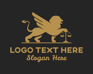 Judiciary - Law Firm Winged Lion logo design