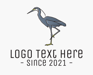Freshwater - Heron Bird logo design