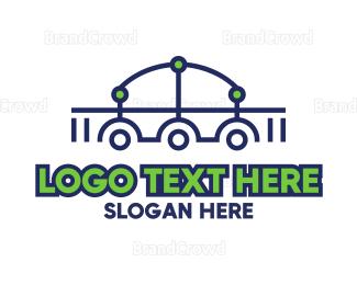 Engineering - Futuristic Bridge Outline logo design