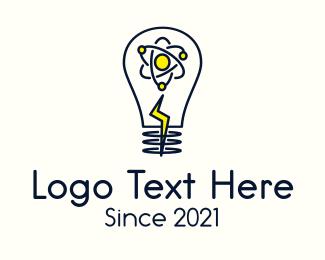 Atom - Atom Lightning Bulb logo design