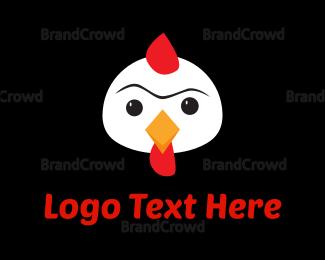Caricature - White Chicken Cartoon logo design