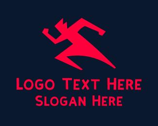 Runner - Red Running Man logo design