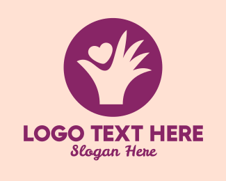 Dating Forum - Purple Heart & Hand  logo design