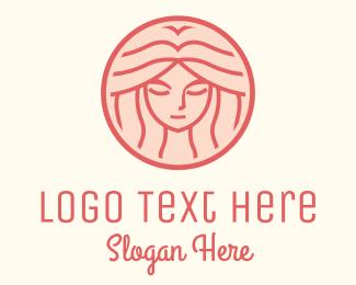 Redhead - Pink Woman Circle logo design