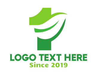 Number 1 - Green Plant Number 1 logo design