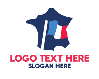 France - France Flag Map logo design