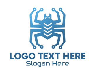 Spider - Blue Digital Web Spider logo design