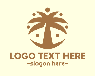 Dubai - Round Palm Tree logo design