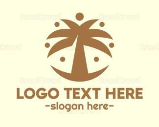 Fun - Round Palm Tree logo design